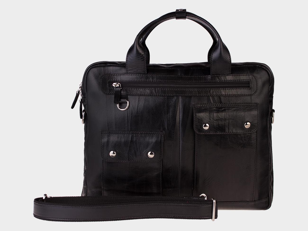 7bc70699ab62 Купить черный кожаный мужской портфель из натуральной кожи «PF0019 ...